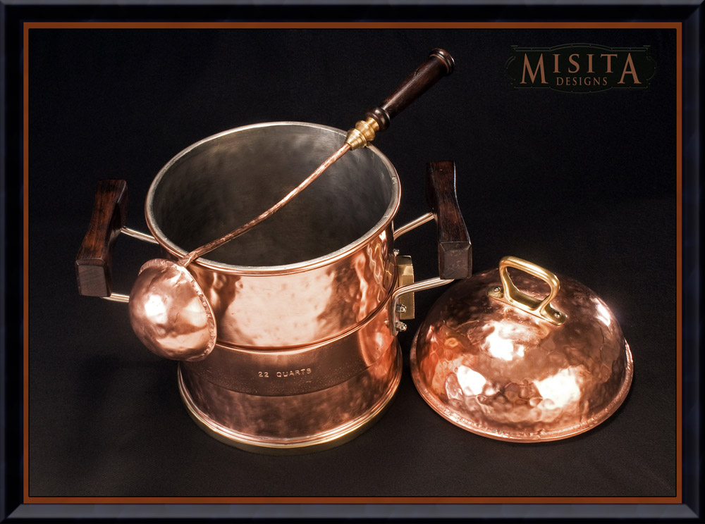 custom hammered copper stock pot, lid and ladle